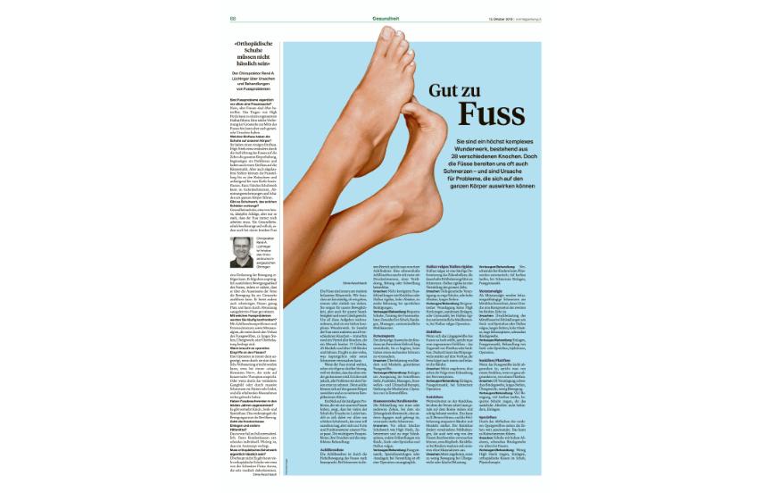 Sonntagszeitung über Anova Schuhe und Fussprobleme
