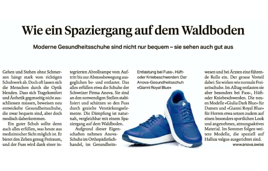 Sonntagszeitung empfiehlt Anova Schuhe